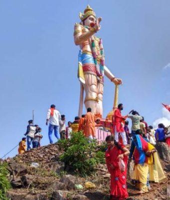 लौहनगरी के नंदी पर्वत में विराजी हनुमान की विशालकाय मूर्ति, पर्यटन को मिलेगा बढ़ावा